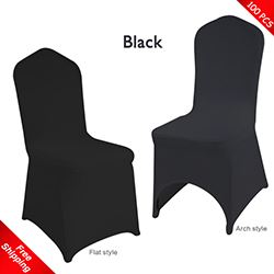 Free Shipping_100 pcs! Black Stretch chair covers, Wedding Spand