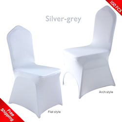 Free Shipping_100 pcs! silver-grey Stretch chair covers, Spandex