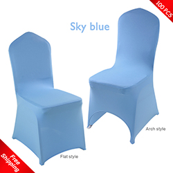 Free Shipping_100 pcs! skyblue Stretch chair covers, Spandex cha