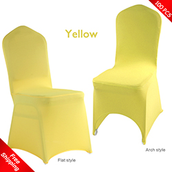 Free Shipping_100 pcs! Yellow Stretch chair covers, Yellow Spand