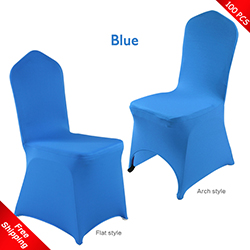 Free Shipping_100 pcs! blue Stretch chair covers, blue Spandex c