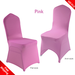 Free Shipping_100 pcs! pink Stretch chair covers, Wedding Spande