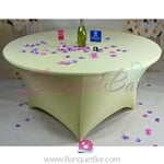 light-yellow Stretch table covers,Spandex tablecloth,Lycra Cover