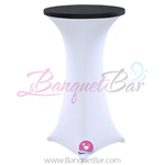 Black stretch topper-spandex cocktail table toppers