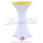 Yellow stretch topper-spandex cocktail table toppers