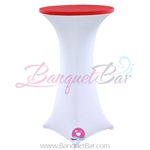 Red stretch topper-spandex cocktail table toppers