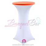 Orange stretch topper-spandex cocktail table toppers