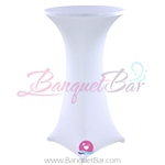 White stretch topper-spandex cocktail table toppers