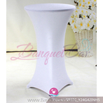 white Metallic stretch cocktail table cover