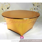 bright golden Metallic stretch Table Cover,Spandex lycra Table C