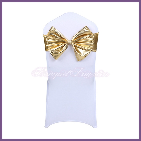Gold metallic stretch chair sash with Bow-Tie