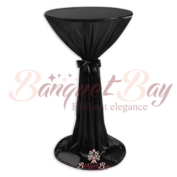 Black ninon round cocktail/higboy/cake table covers