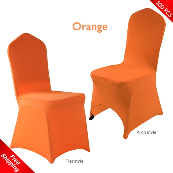 100 pcs Free Shipping!Orange Spandex/Lycra chair covers,