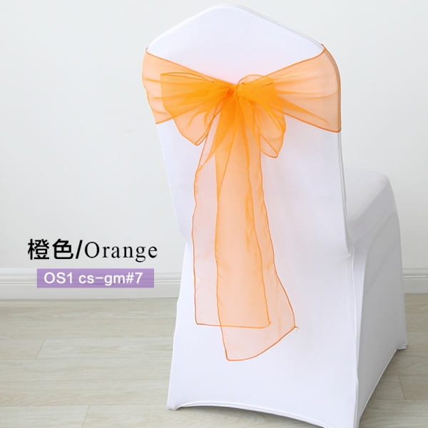 Orange crystal organza chair sash for wedding banquet chair back