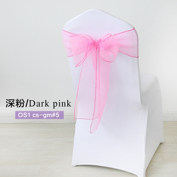 Dark pink crystal organza chair sash for wedding banquet chair b