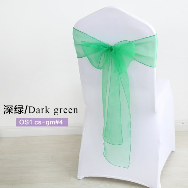 Dark green crystal organza chair sash for wedding banquet chair