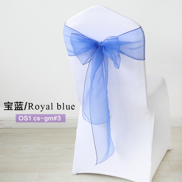 Royal blue crystal organza chair sash for wedding banquet chair