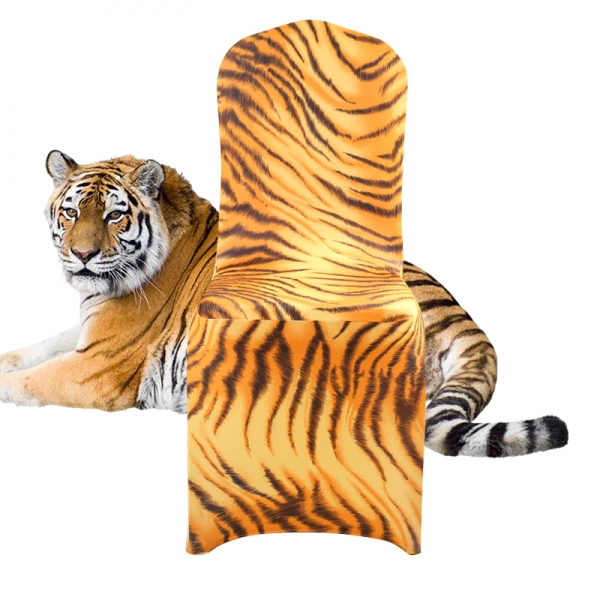 tiger pattern printed spandex chair cover