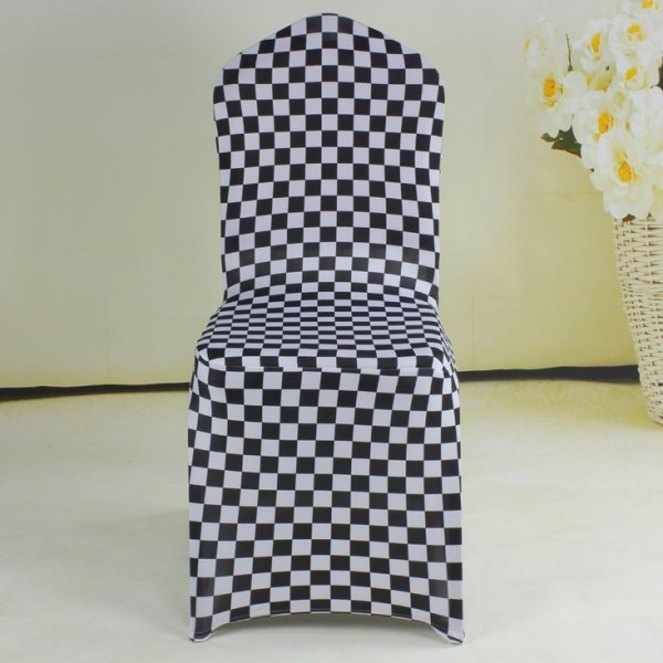 black white checked spandex banquet chair covers