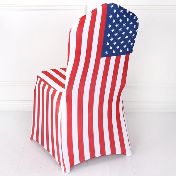 The American Flag Red and White Checked Spandex Chair Cover