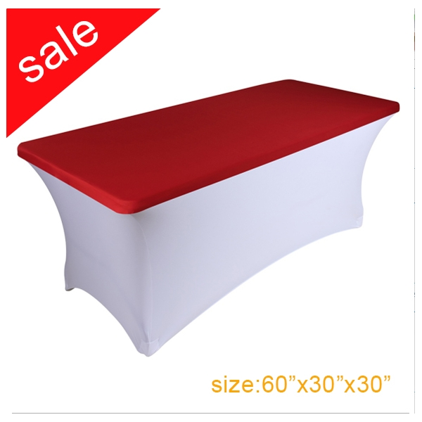 Clearance Spandex Stretch Red Rectangular Table Topper/Cap Cover