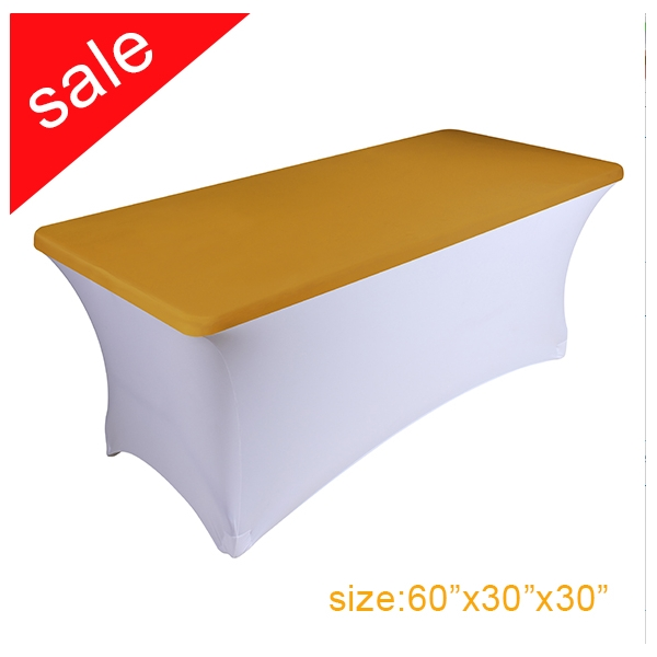 Clearance Spandex Stretch Golden Rectangular Table Topper