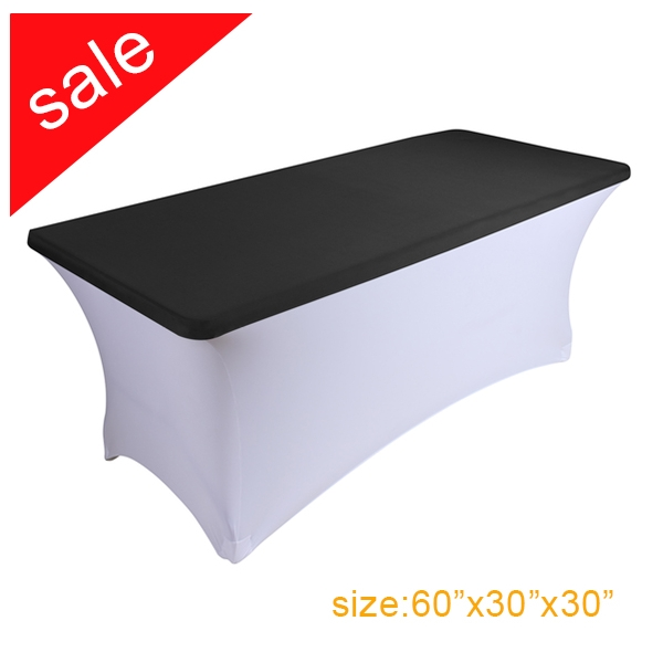 Clearance Spandex Stretch Black Rectangular Table Topper