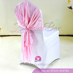light pink Satin Chair Cap,Wedding Chair sash for sale