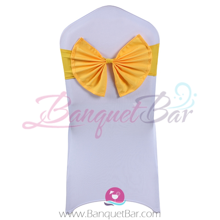 Yellow stretch chair sash with Bow-Tie