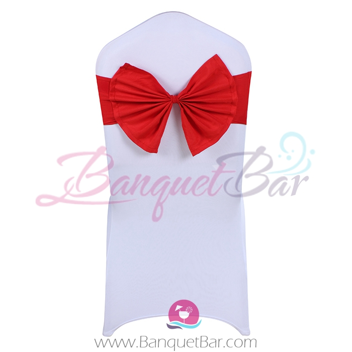 Red stretch chair sash with Bow-Tie