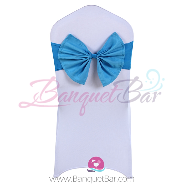 Blue stretch chair sash with Bow-Tie