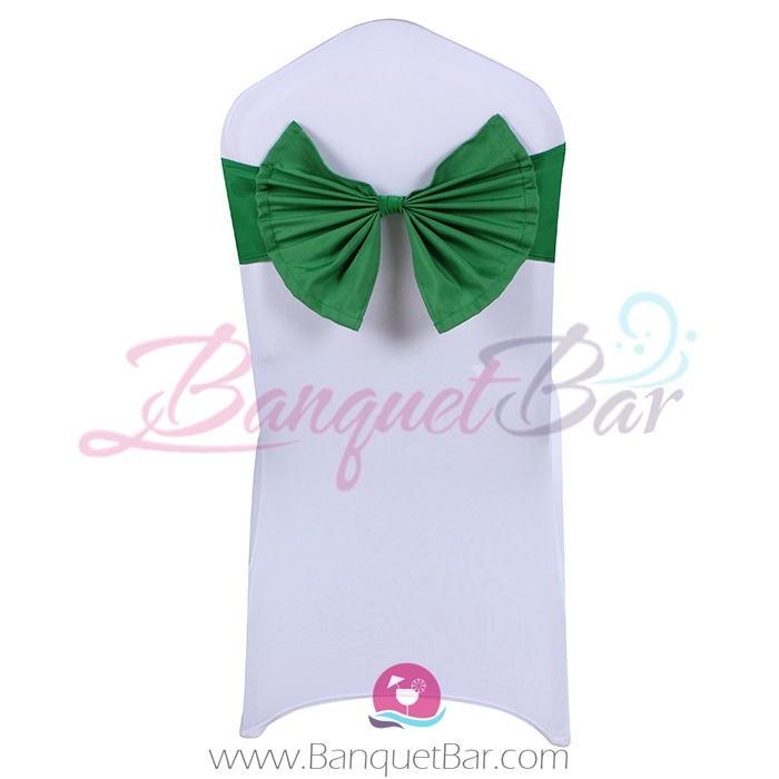 Dark Green stretch chair sash with Bow-Tie