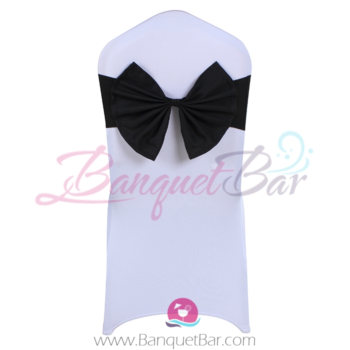 Black stretch chair sash with Bow-Tie