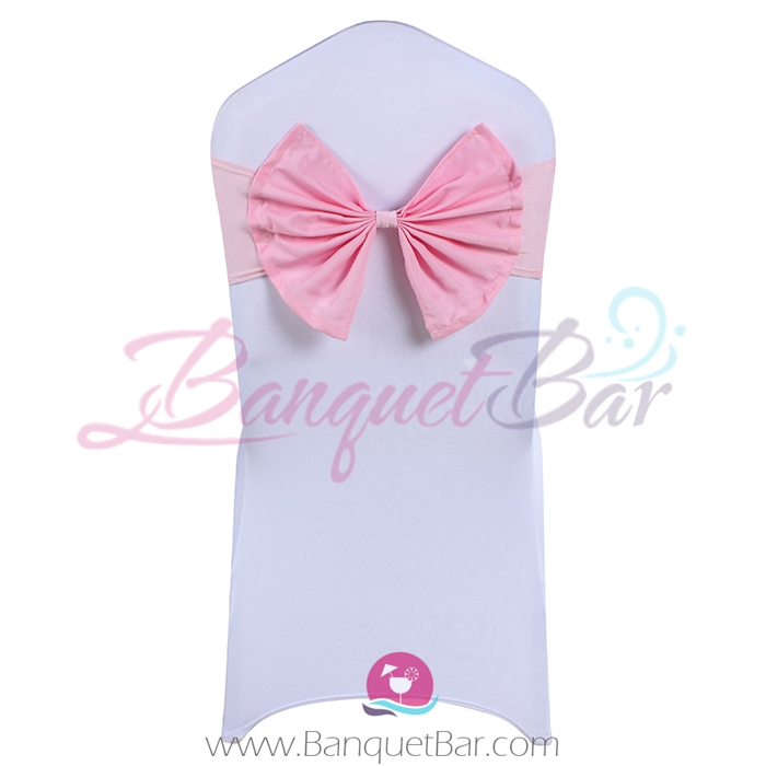 light-pink stretch chair sash with Bow-Tie