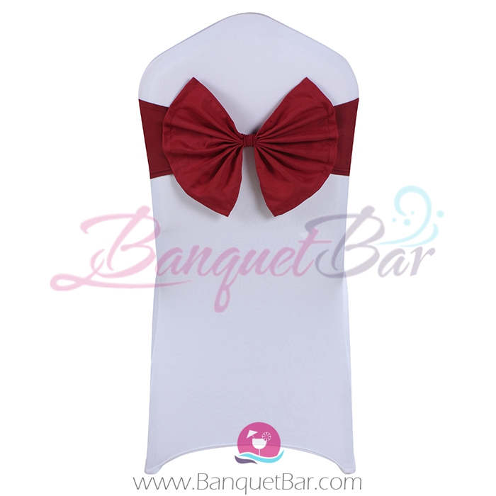 Burgundy stretch chair sash with Bow-Tie
