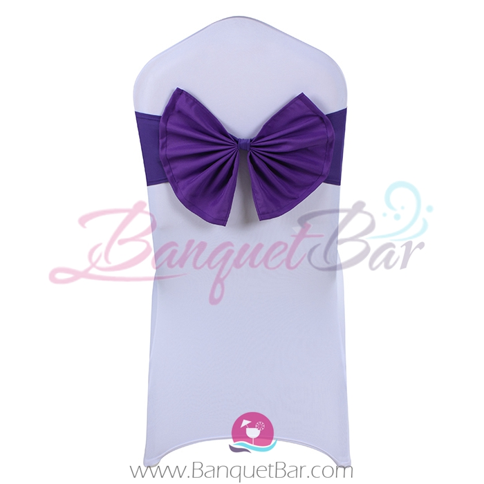 Cadbury-Purple stretch chair sash with Bow-Tie