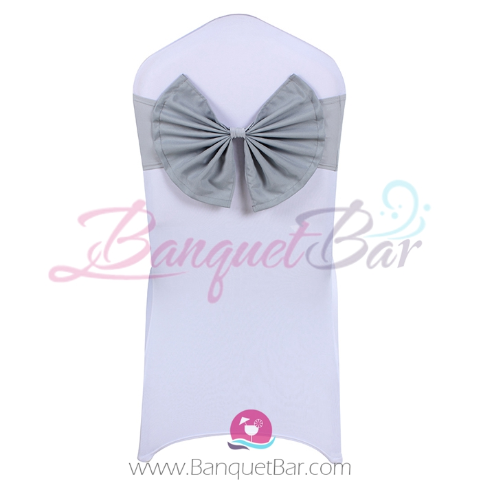 Silver-grey stretch chair sash with Bow-Tie
