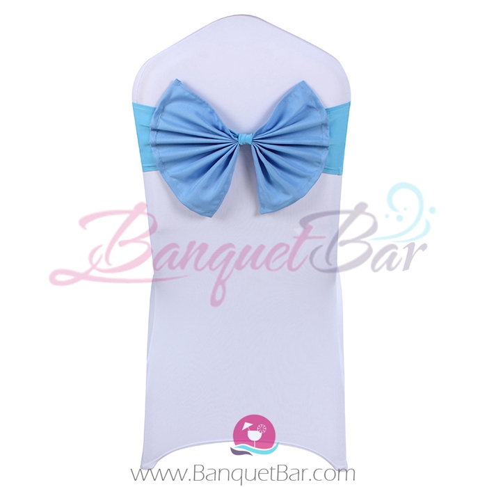 Sky blue stretch chair sash with Bow-Tie