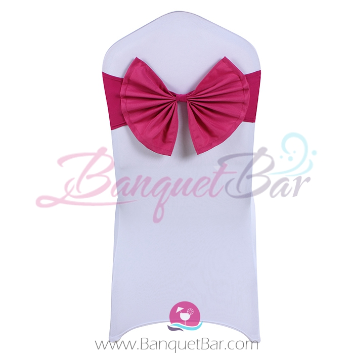 fuchsin stretch chair sash with Bow-Tie