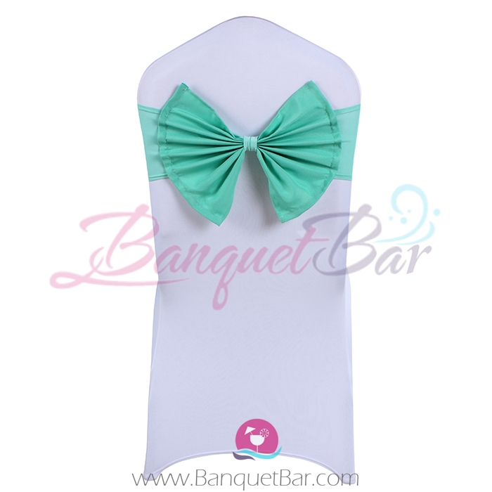 tiffany-blue stretch chair sash with Bow-Tie