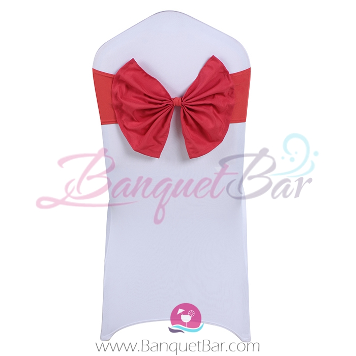 watermelon-red stretch chair sash with Bow-Tie