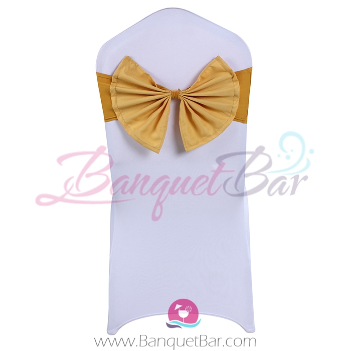 dark-golden stretch chair sash with Bow-Tie
