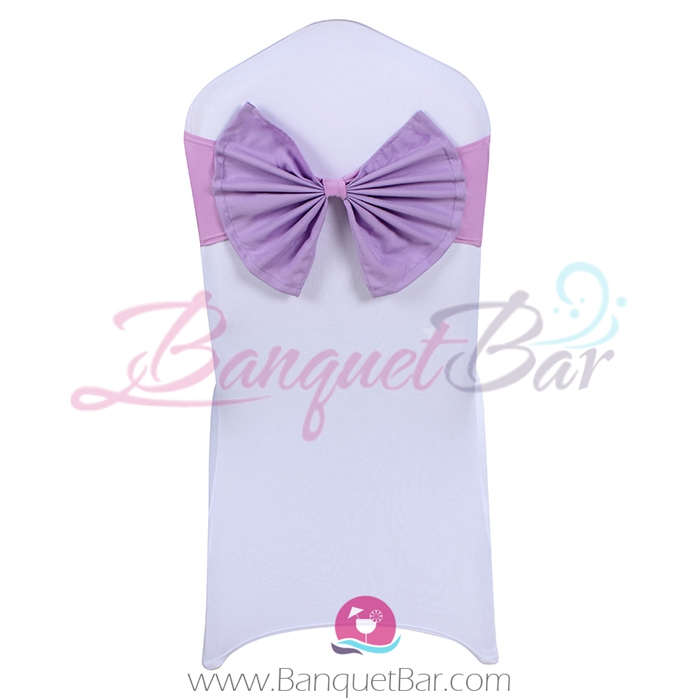 lilac stretch chair sash with Bow-Tie