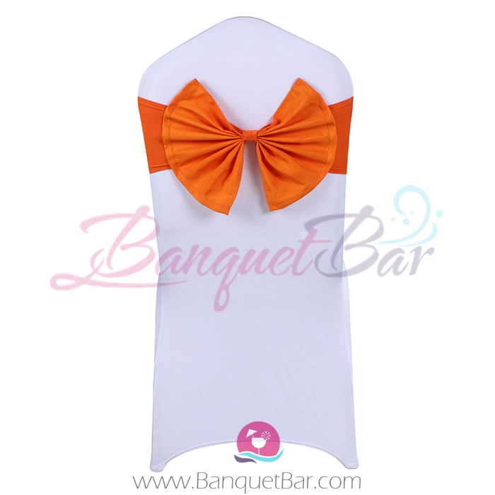 orange stretch chair sash with Bow-Tie
