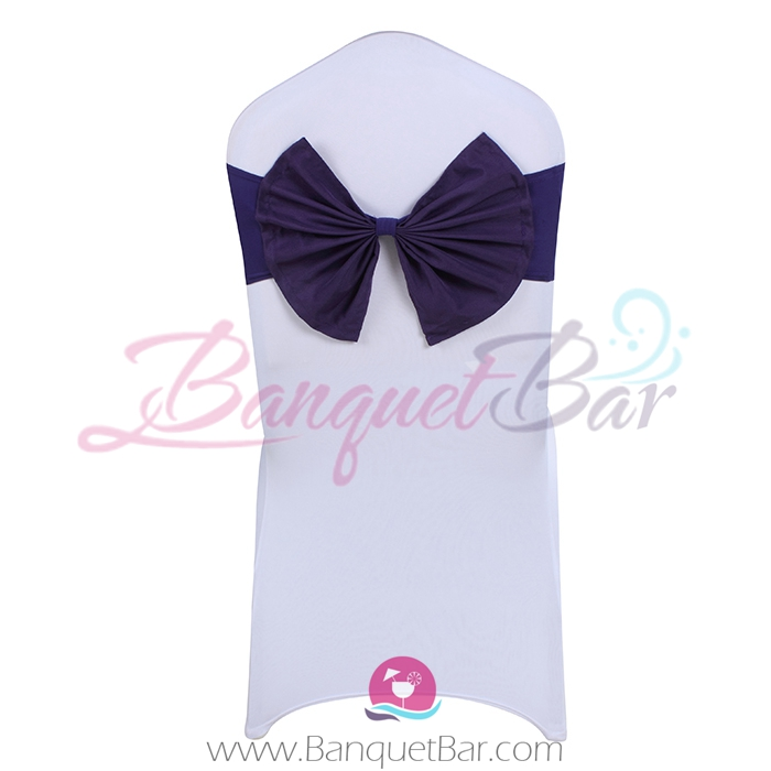 Dark-Purple stretch chair sash with Bow-Tie