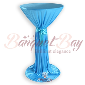 Lake blue ninon round cocktail/higboy/cake table covers