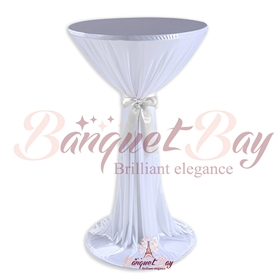 White ninon round cocktail/higboy/cake table covers