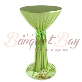 Grass green ninon round cocktail/higboy/cake table covers