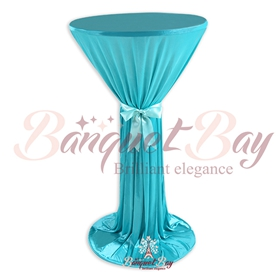 Tiffany Blue ninon round cocktail/higboy/cake table covers
