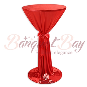 red round cocktail highboy cake tablecloth